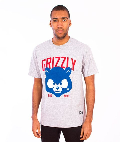 Grizzly-Bad News Mascot T-Shirt Grey