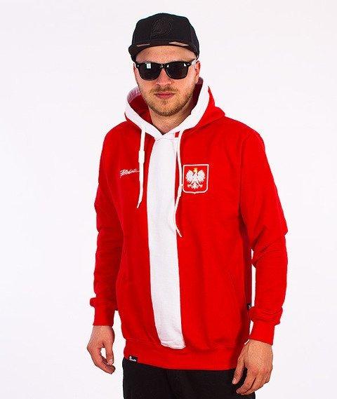 Patriotic-Godło Tag Bluza z Kapturem Czerwona