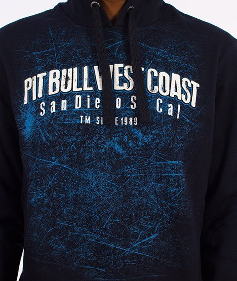 Pit Bull West Coast-Skull Dog Hoodie Bluza Kaptur Granatowy