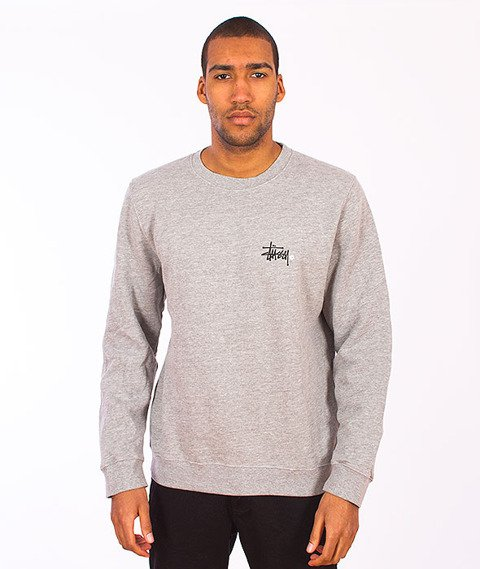 Stussy-Basic Logo Crewneck Grey Heather