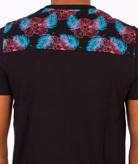 Wrung-Pocket Flowers T-Shirt Czarna
