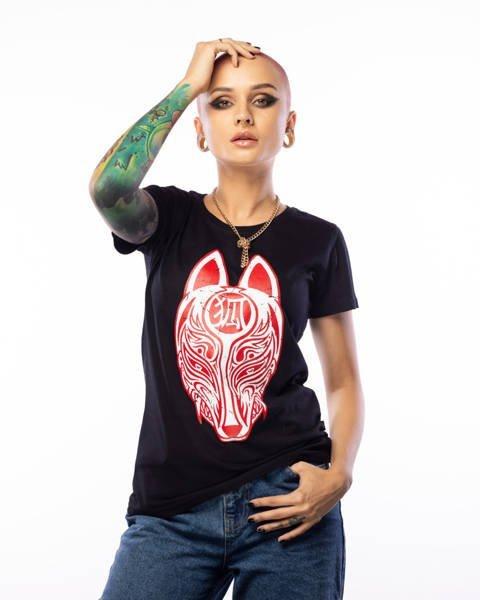Brain Dead Familia KITSUNE T-shirt Damski Czarny