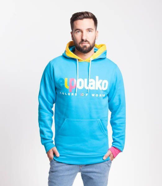 El Polako COW Bluza z Kapturem Błękitny
