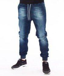 SmokeStory-Jogger Premium Slim Guma Spodnie Dark Blue Przecierane