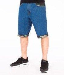 SmokeStory-Moro Wstawki Szorty Jeans Spodnie Krótkie Wycierane Light Blue
