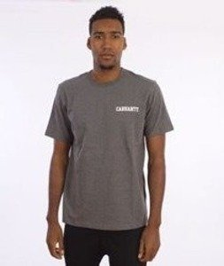 Carhartt-College Script LT  T-Shirt Dark Grey Heather/White