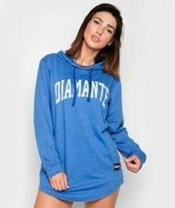 Diamante-College Light Hoodie Long Bluza Damska Kaptur Niebieska