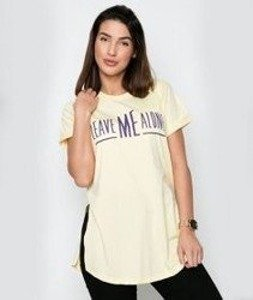 Diamante-Leave Me Alone T-shirt Damski Żółty