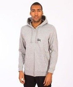 Stussy-Basic Logo Zip Hood Grey Heather
