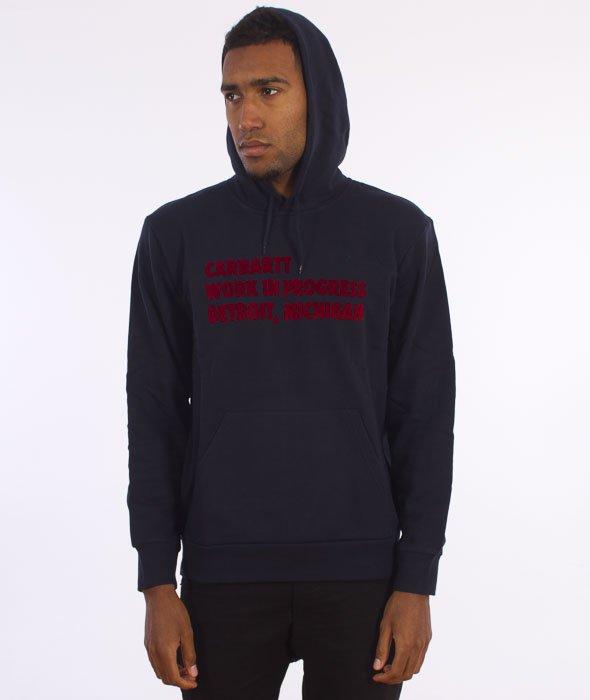 Carhartt-Hooded Bold Type Sweat Navy/Deep Red