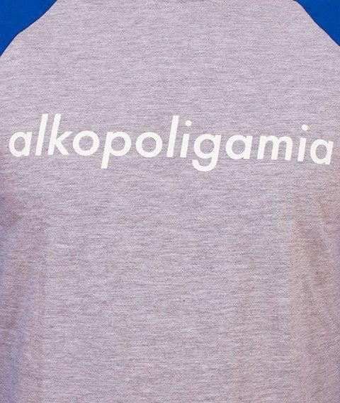 Alkopoligamia-Flame Longsleeve Szary/Niebieski