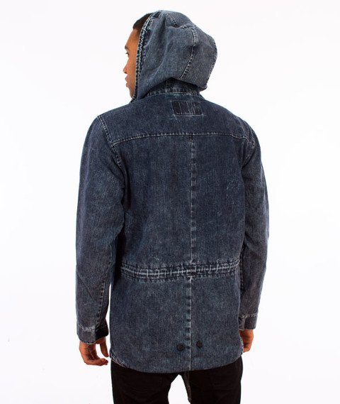 Backyard Cartel-Acid Denim Jacket Parka Niebieska