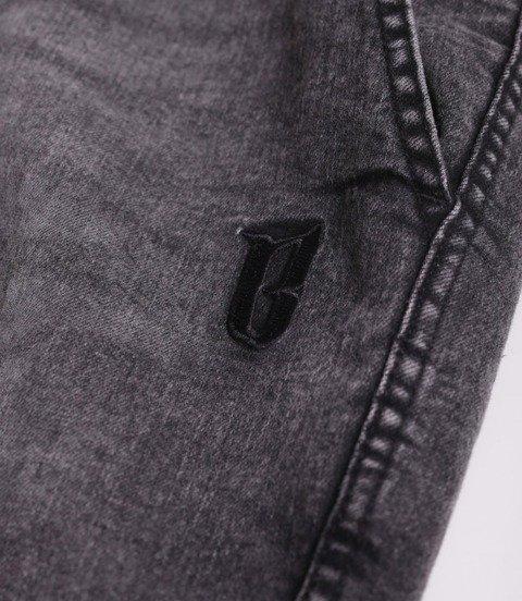 Biuro Ochrony Rapu Jogger Fit Guma Strecz Spodnie Jeans Szary