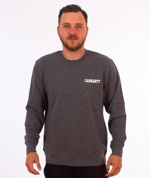 Carhartt-College Script Sweatshirt Dark Grey Heather White