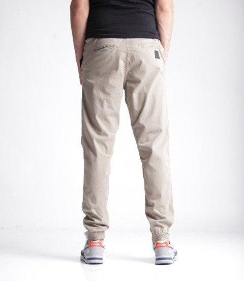 El Polako-Skórka Jogger Slim z Gumą Spodnie Beżowe