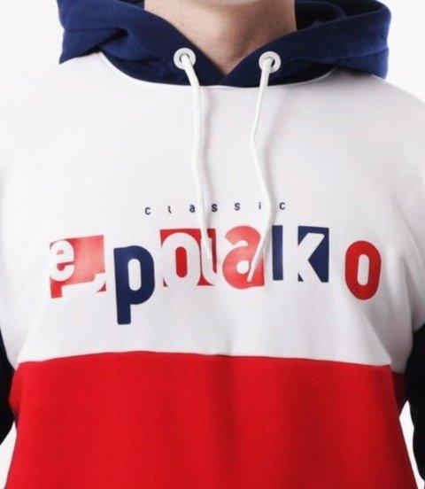 El Polako-Square Cut Bluza Kaptur Czerwony/Granat