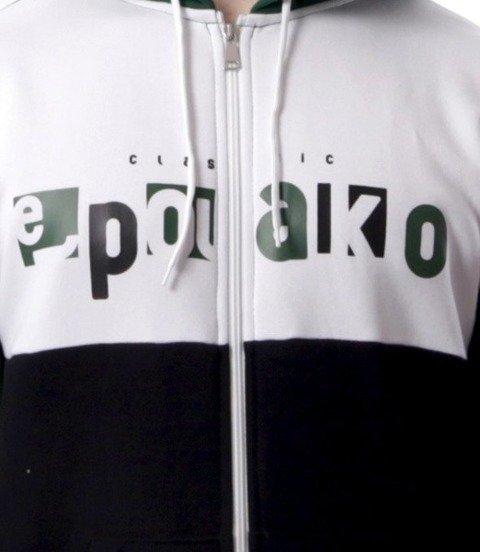 El Polako-Square Cut Bluza Rozpinana Kaptur Czarno/Zielona