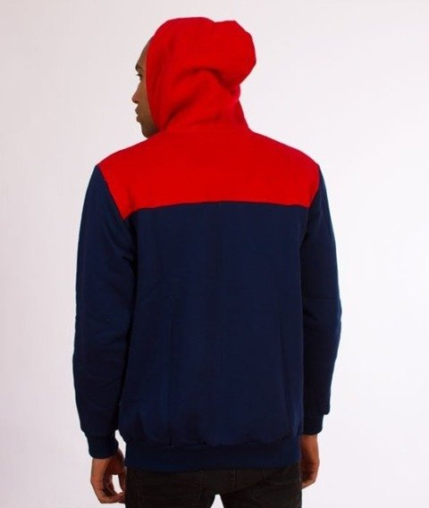 El Polako-Three Colors Bluza Rozpinana Kaptur Granat/Czerwony