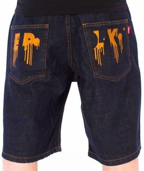 El Polako-Zaciek Spodnie Krótkie Jeans Dark Blue