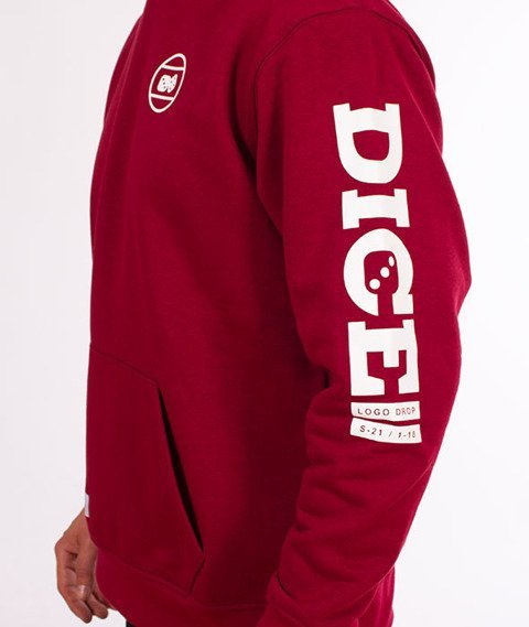 Lucky Dice-Hoodie Logo on Sleeve Bluza Bordo