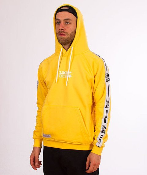 Lucky Dice-Hoodie Tape Logo Bluza Żółta