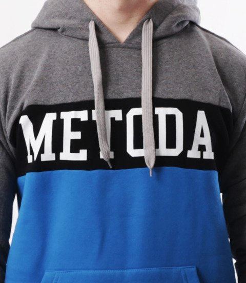 METODA -3 Colors Bluza Kaptur Szaro Niebieska