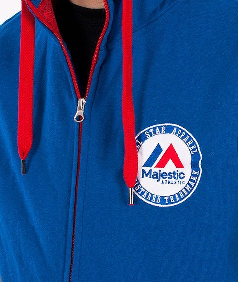 Majestic-Majestic Athletic Sleveless Zip Hoodie Blue