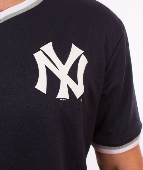 Majestic-New York Yankees Longline MLB Warm Up Poly T-shirt Granatowy