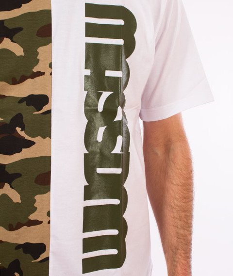 Mass-Half Camo T-Shirt Biały