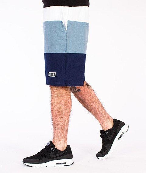 Mass-Horizon Spodnie Dresowe Krótkie Białe/Stalowo Niebieskie/Granatowe