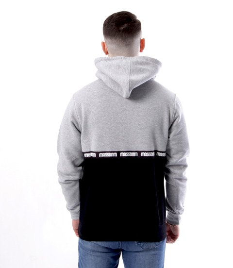 Mass-Mass DNM bluza Sweatshirt Line Hoody Szaro Czarna