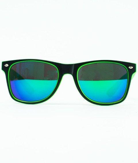 Patriotic-Futura Mat Okulary Czarne/Zielone/Zielone-Niebieskie