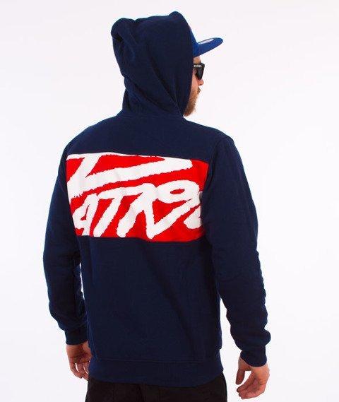 Patriotic-Tag Box Zip Bluza Kaptur Granatowa