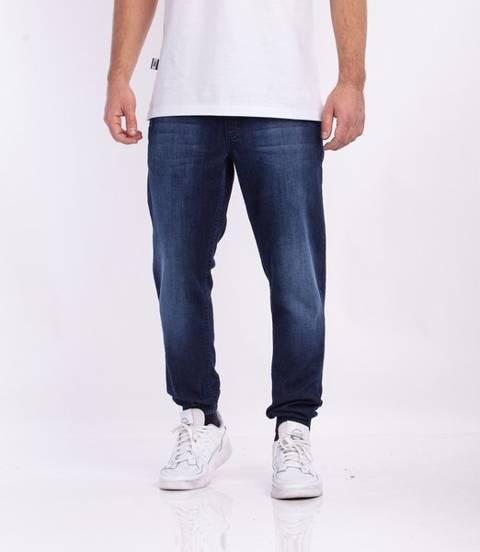 Smoke Story SKIN Jogger Slim Jeans Wycierane Dark Blue