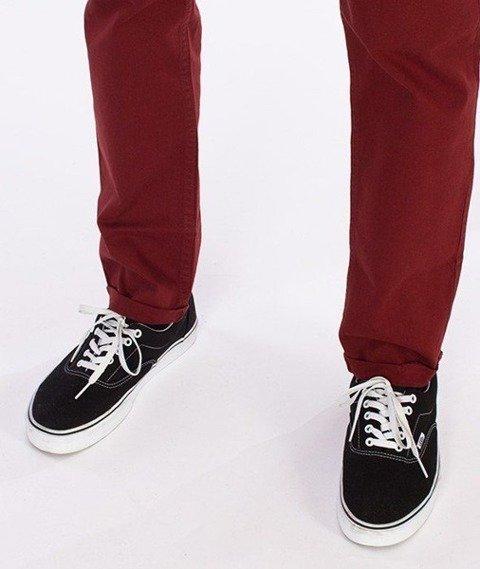 SmokeStory-Chino Slim Spodnie Z Wywinięciem Bordowe