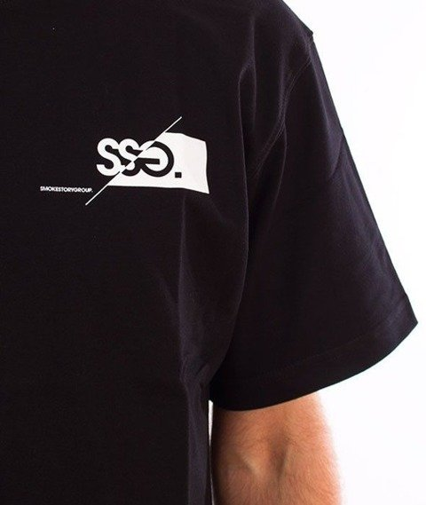SmokeStory-Front Back Cut Logo T-Shirt Czarny
