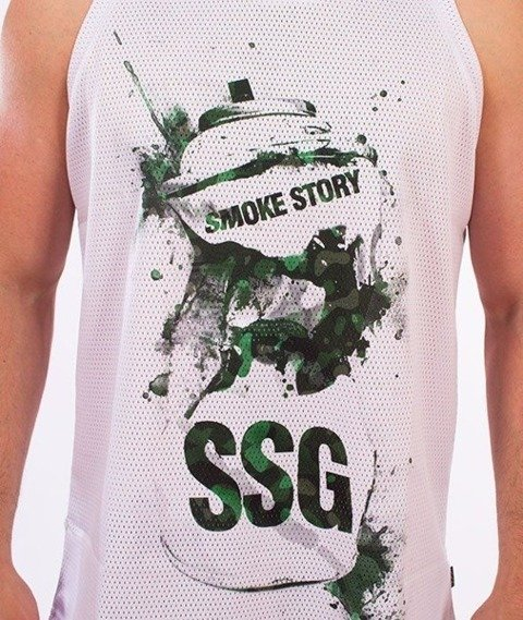 SmokeStory-Graphics Spray Tank Top Biały