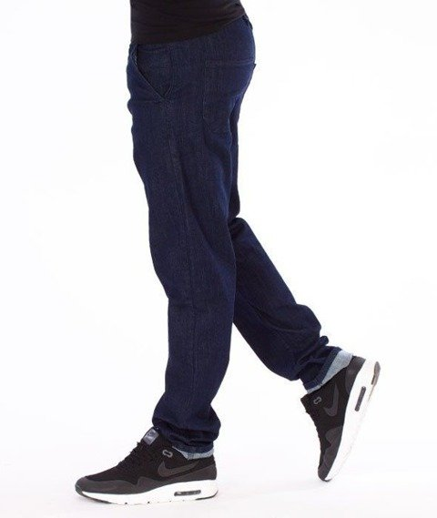 SmokeStory-Jeans Stretch Straight Fit Guzik Spodnie Dark