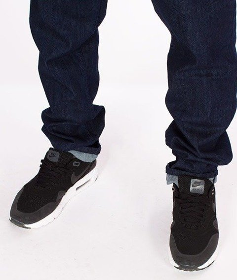 SmokeStory-Jeansy Stretch Straight Fit Guzik Spodnie Dark