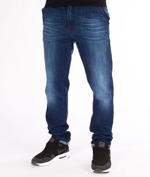 SmokeStory-Jeansy Stretch Straight Fit Premium Guzik Spodnie Medium Przecierane
