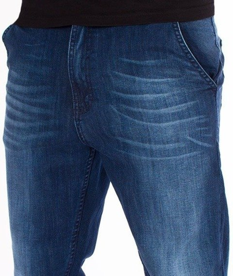 SmokeStory-Jeansy Stretch Straight Fit Premium Guzik Spodnie Medium Przecierane