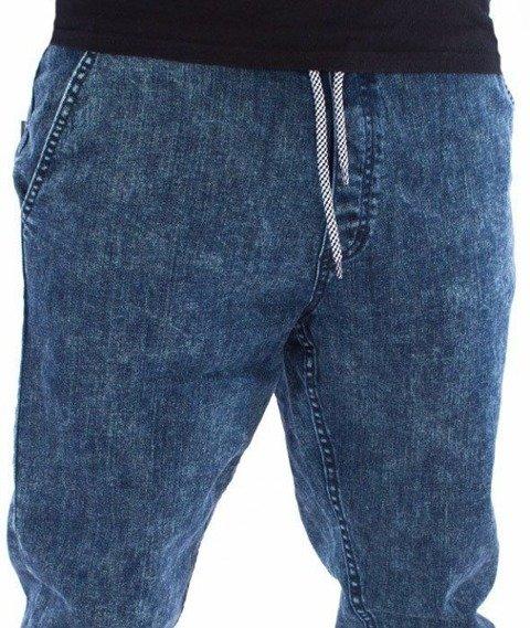 SmokeStory-Jogger Premium Slim Jeans Guma Spodnie Marmurki Dark Blue