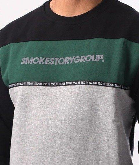 SmokeStory-One Line Crewneck Bluza Czarny Zieleń