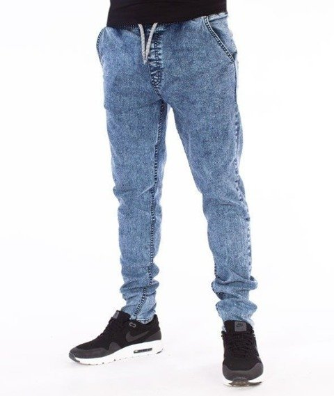 SmokeStory-Premium Jeans Stretch Straight Fit z Gumą Spodnie Marmurek Light
