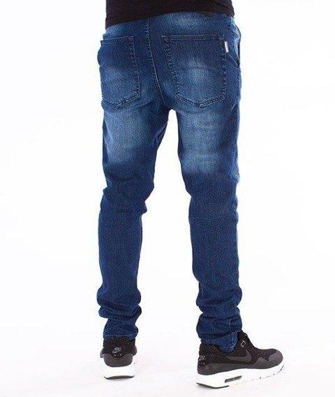SmokeStory-Premium Stretch Straight Fit z Gumą Spodnie Medium z Przetarciami