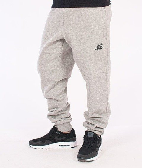 SmokeStory-Tag Slim Spodnie Dresowe Szare