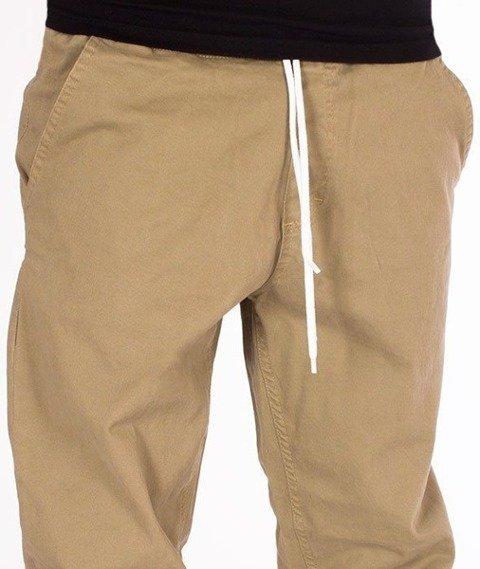 SmokeStory-Tkaninowe Jogger Regular Z Gumą Spodnie Beżowe