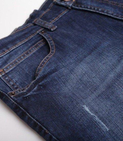 SmokeStory-Wycierane Krótkie Spodnie Dark Jeans