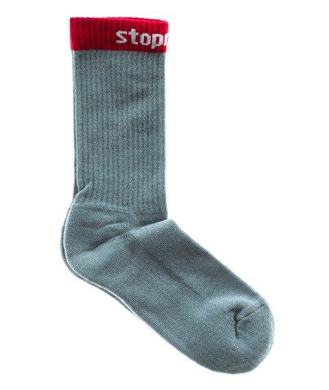 Stoprocent-STPR16 Skarpety Długie Szare/Czerwone
