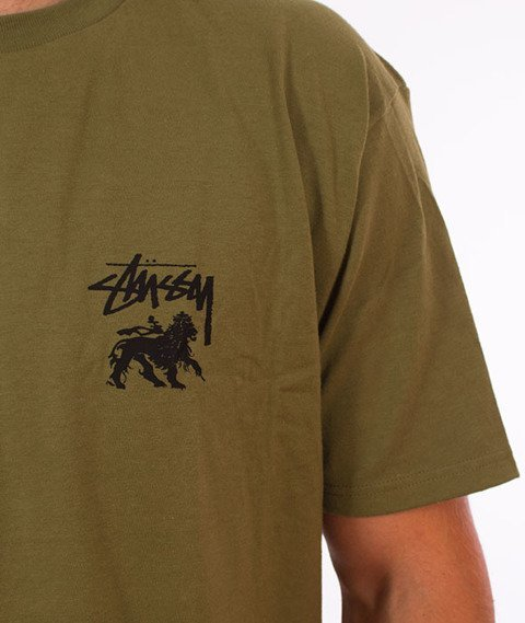 Stussy-Stock Lion T-Shirt Olive